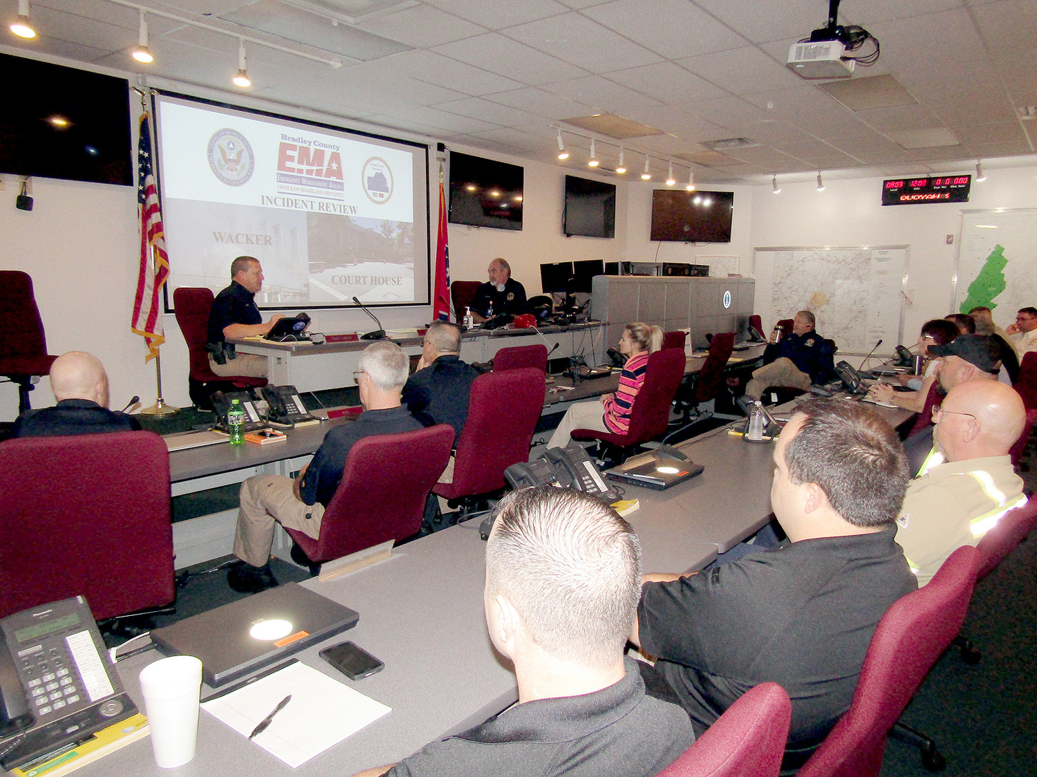 Members of the county's emergency services and industries met at the Bradley County 911 Center to discuss recent emergency incidents, and how to better respond and inform the public when new ones transpire.