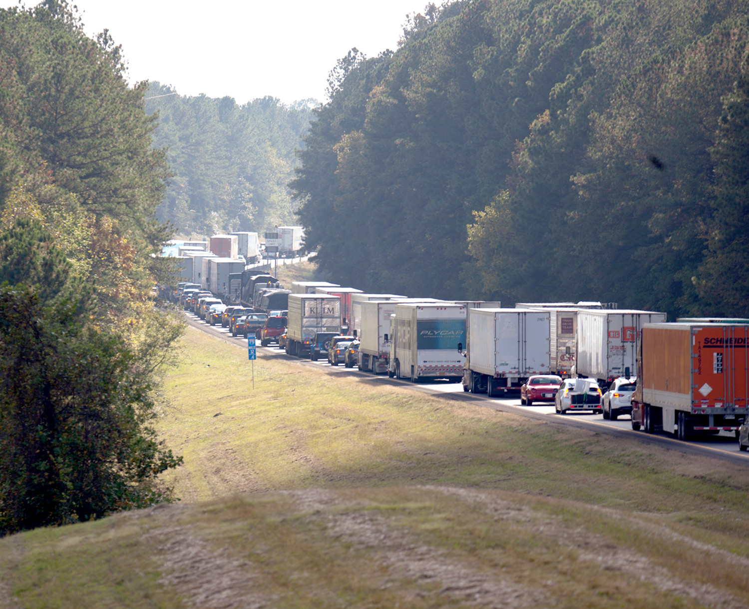 A SOUTH CAROLINA WOMAN was killed in a traffic accident on Interstate 75 on Friday, near mile marker 28,  resulting in the closure of one lane of traffic and autos lined up well beyond Exit 33 in Charleston.