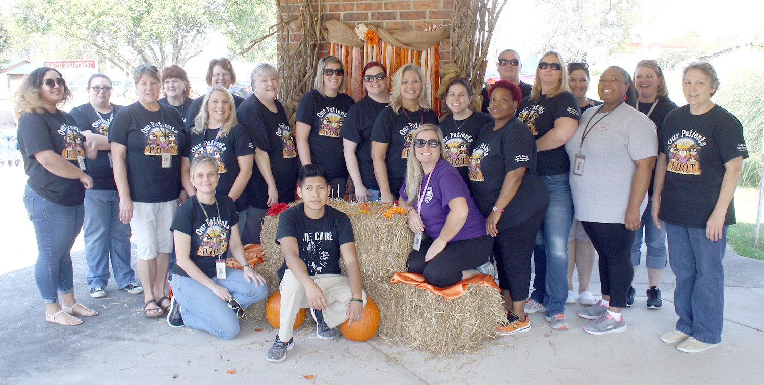 "A LARGE GROUP of Bradley County Health Department employees were all dressed up in their ""Hoot"" t-shirts for Friday's third annual Fall Festival. More than 300 children attended."