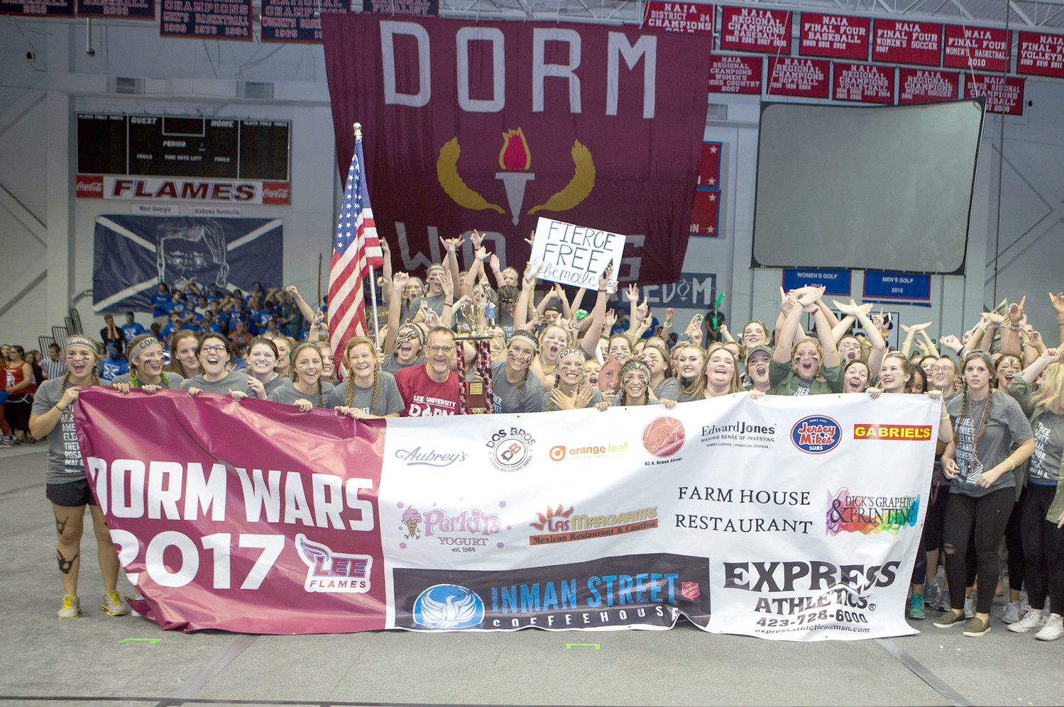 Sharp Davis, a female residence hall, claimed the women's trophy in Lee University's Dorm Wars.