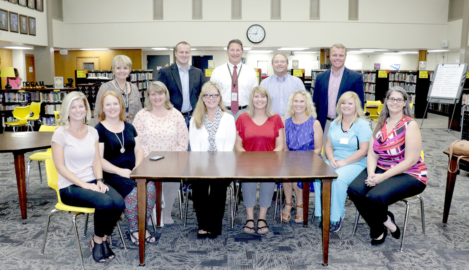 THE PRINCIPAL'S ADVISORY COUNCIL at Bradley Central High School recently had its first meeting for the year. It is composed of parents of students in all four grades, and meets twice a semester with the BCHS principal.  In the front row, from left, are Stephanie Hughes, Michelle Augustine, Christy Critchfield, Michelle Williams, Julie Walker, Tracey Walker, Jennifer Dobbs and Danielle York. In the back row are BCHS parent coordinator Karen Winters, James Sears, BCHS Principal Todd Shoemaker, Andy Williams and Jason Robinson. Not pictured are Patrick Wooden, Shelia Bennett and Amy Fletcher.