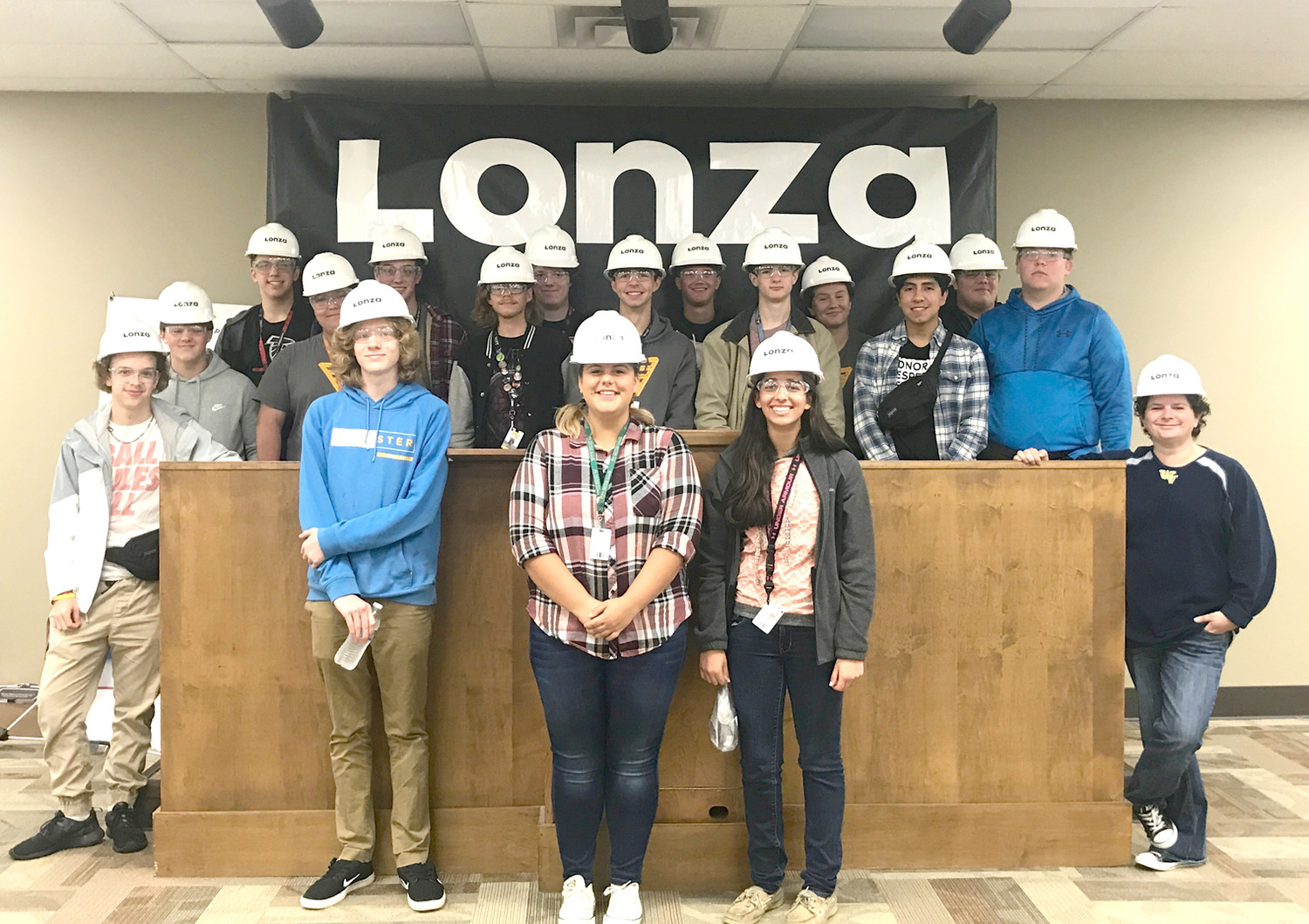 STUDENTS from Jennifer Miles' class at Walker Valley High School had the opportunity to visit Lonza for a tour as part of their Manufacturing Week activities.