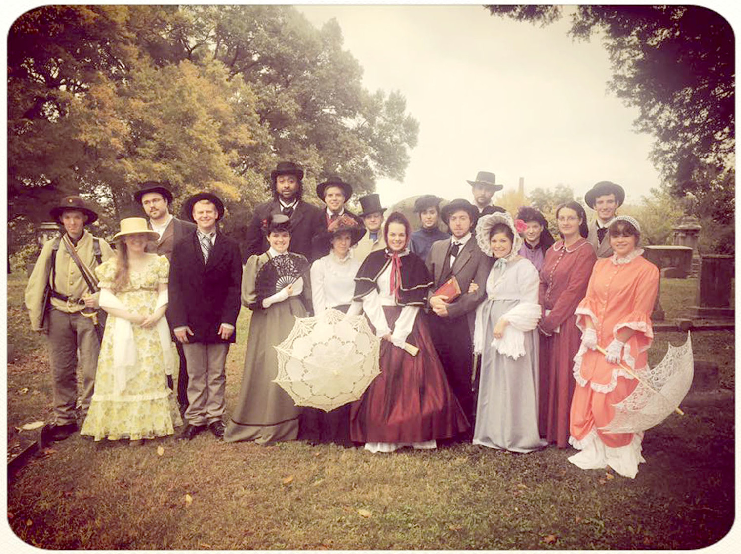 This file photo of a previous Fort Hill Cemetery Tour shows the students in period dress for the individual they are portraying.