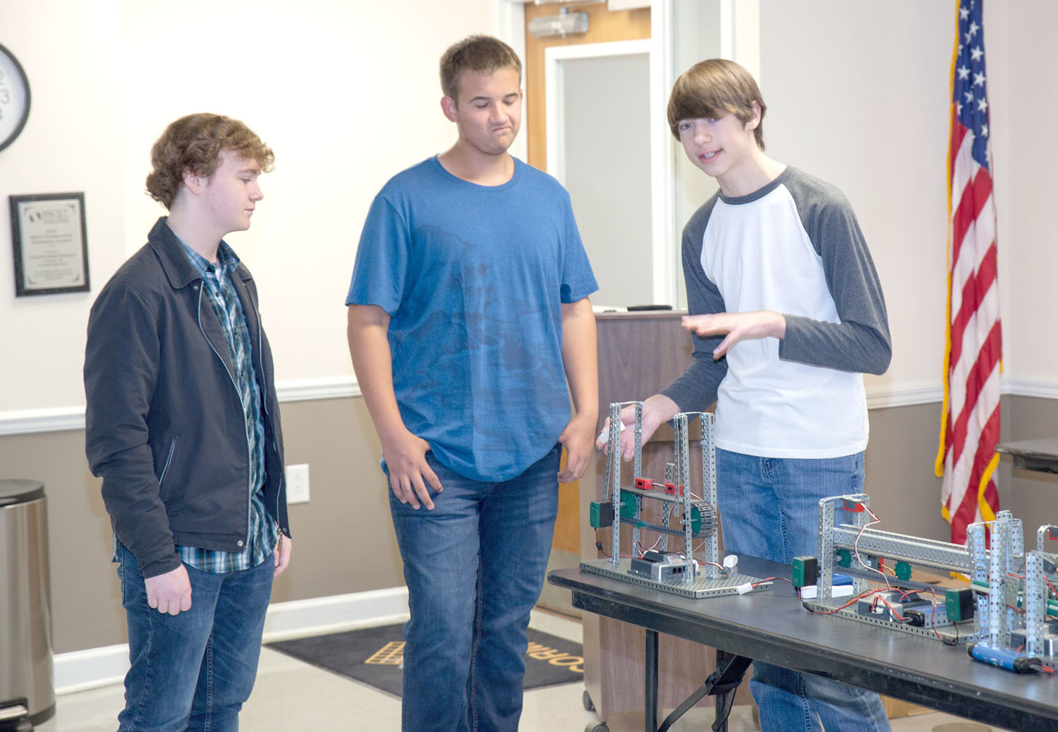 BEN WILLIAMS' ENGINEERING STUDENTS were split into four teams working towards the same goal:  a working model simulating the synergy between the different components in a manufacturing environment.  Each team worked to achieve their individual module's purpose, while keeping the entire project's parameters in mind, such as height, transition, and consistent speed.