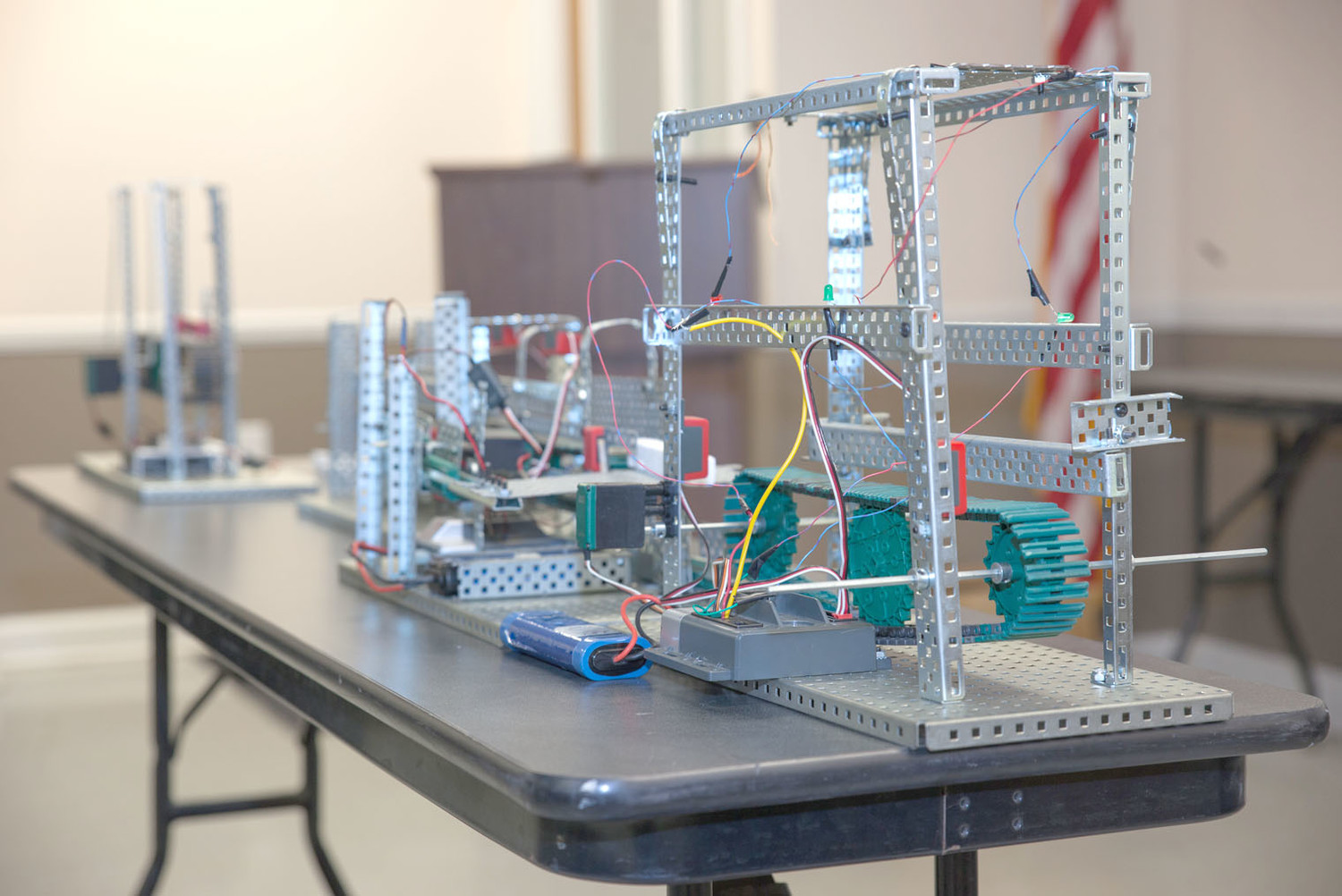 A CLOSE-UP of the Cleveland High School engineering students' project model sits on a table inside Cormatech.