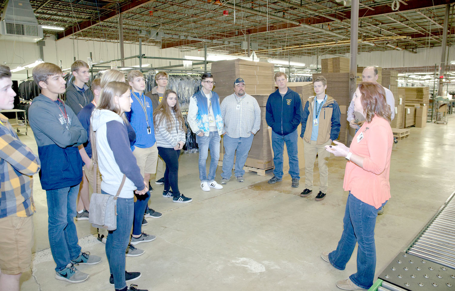 THE WALKER VALLEY High School Mechatronics class took a tour of the Hardwick Clothes facility on Friday.  The students were able to experience all aspects of the clothing manufacturing process, from design all the way to shipping.  Amanda Burns, of Hardwick Clothes, explains the importance of the shipping process to delivering an appealing product to store shelves.