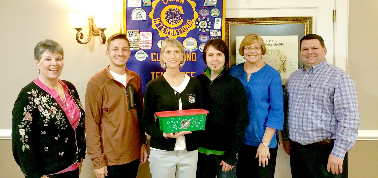 Christy Williams, logistics coordinator for Operation Christmas Child, spoke to Cleveland Civitan members on Oct. 18, when they learned how to pack a shoebox.  More importantly, they were made aware of the great impact this simple gift has on children throughout the world.  From left are Pam Edgemon, Justin Gregory, Williams, Nate Ridgeway, Joan Brown and Eddie Jones.