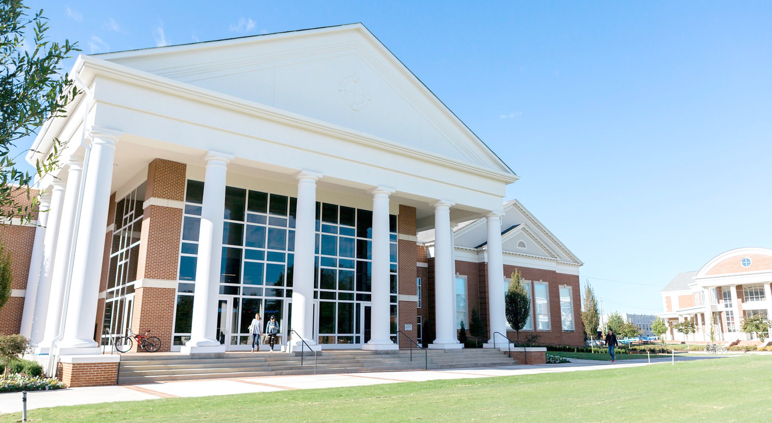 LEE UNIVERSITY's new School of Business is planning an open house for members of the community this Thursday. This education wing is located in the former First Baptist Church building, providing an entrance which overlooks the South Campus Quad.
