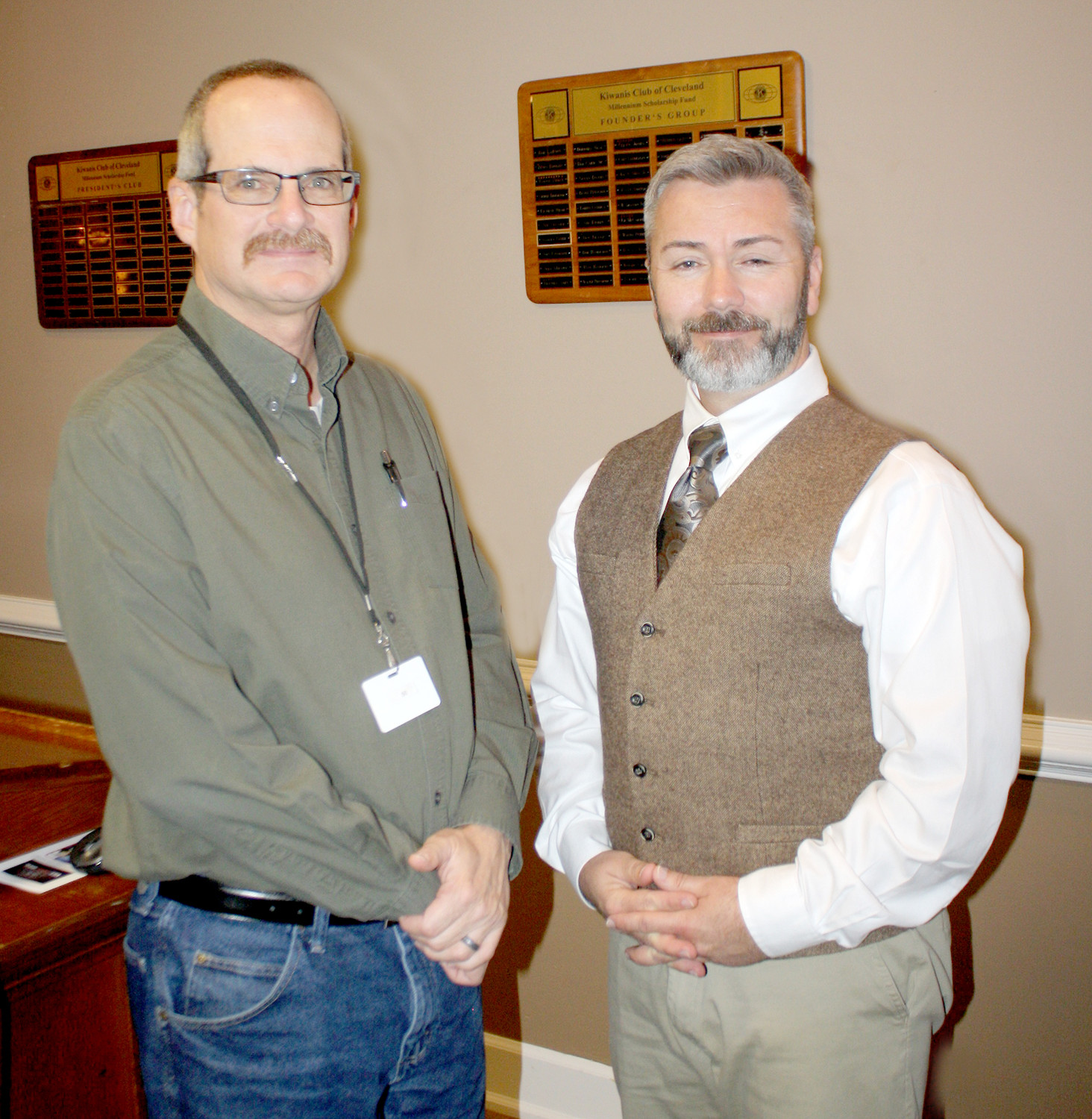 RAMON TORRES, left, of the Cleveland Kiwanis Club, is shown with this week's guest speaker, Michael MacDonald of VET-COM.Org.