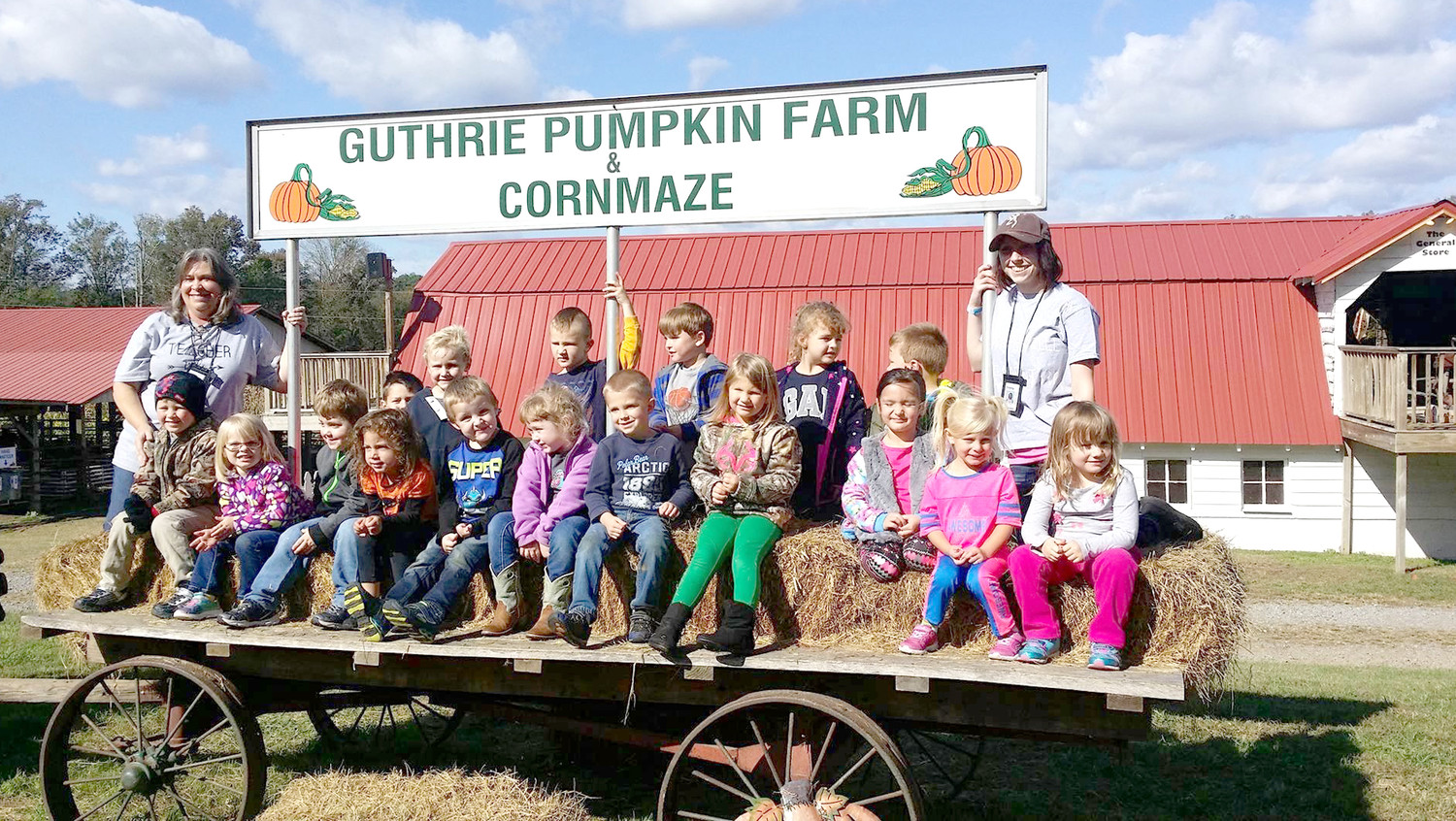 STUDENTS in Pat Williams' pre-K class at Waterville Community Elementary School recently went on a festive fall field trip, visiting the Guthrie Pumpkin Farm & Cornmaze.