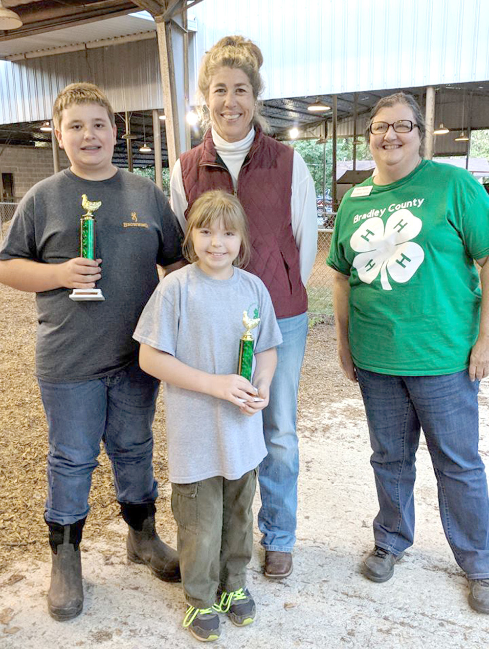 The Bradley County 4-H Poultry Show and Sale was held Oct. 26, at the William Hale Agricultural Center in Cleveland.  This year, 25 4-H members participated in the show.  The 4-H members each received 12 baby chicks from the 4-H Chick Chain Project in April and have been responsible for their care.  Each 4-H member brought three of their pullets to the show to compete for Grand Champion Pullet.  After the show, pullets were auctioned with the money going back into the 4-H Poultry Project. Brooke Bowman, Emily Casey, Alexander Caywood, Ben Caywood, Jaxon Chapman, Sarah Davis, Rose Duncan, Toby Duncil, Skyla Frankfort Goeringer, Brenden Guffey, Molly Kincaid, Brody Matthews, Brady Montgomery, Olivia Pass, Madison Perry, Fredrick Rackel, Avery Rayburn, Jackson Ryerson, Alanna Scoggins, Zane Shope, Caleb Tuinstra, Abby White, Eden Wills, Bella Salazar and Megan Salazar.  Shope and the Reserve Grand Champion Pullet winner was Sarah Davis.  Judge for this year's show was Julie Johnson from Roane County and the auctioneer was Joe Stepp.
