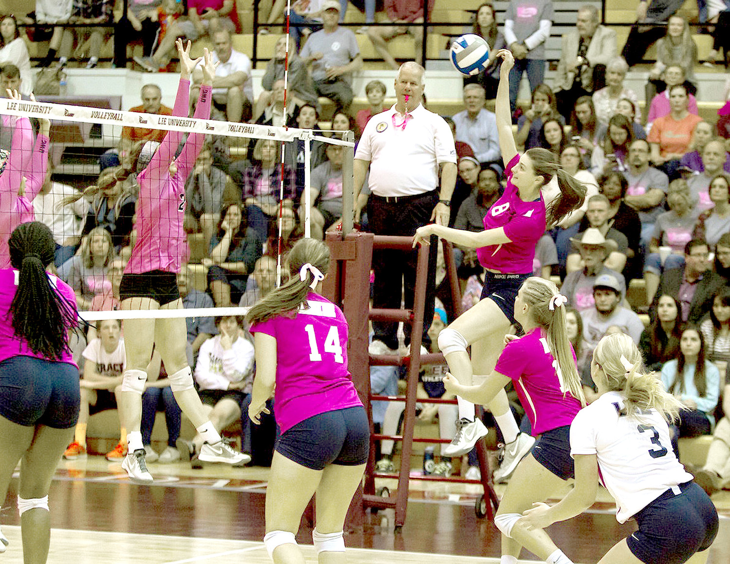 LEE UNIVERSITY volleyball players score a point against West Georgia in last year's Volley for a Cure.