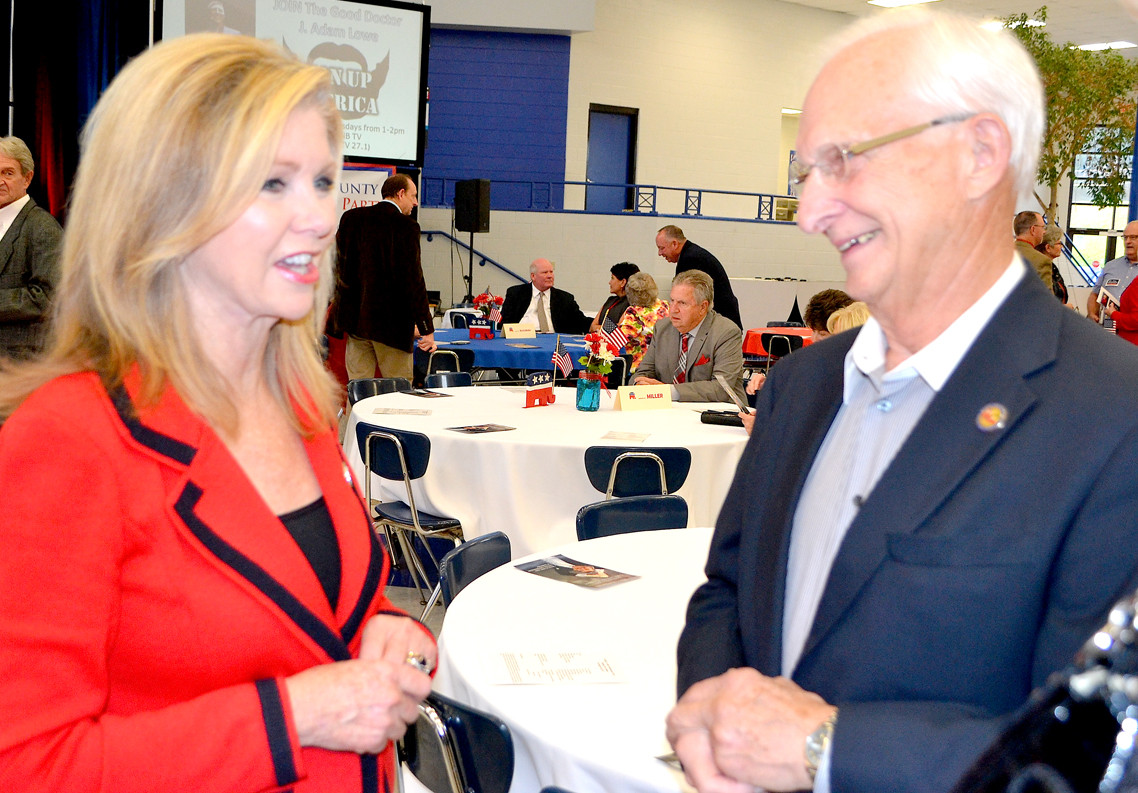 JIM POLIER spoke with Marsha Blackburn at the Reagan Day Dinner on Saturday.