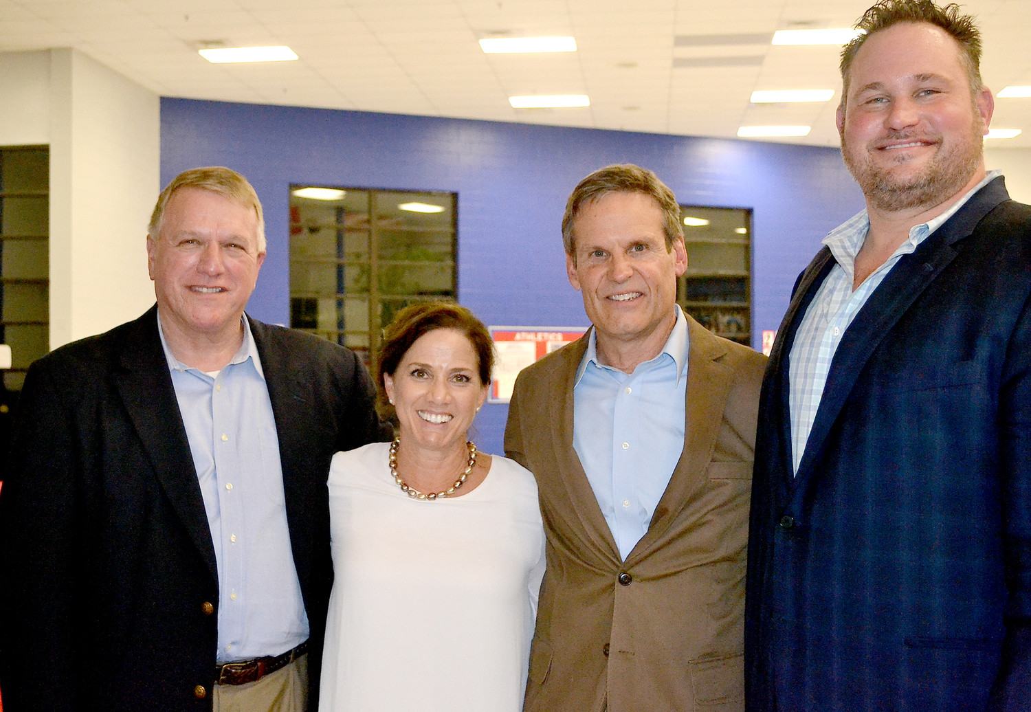BILL LEE, who is running for Tennessee governor, was one of the candidates who spoke at the Reagan Day Dinner. From left are Bradley County Republican Chairman Richard Burnette; Maria and Bill Lee; and former Republican Chairman Jonathan Cantrell.