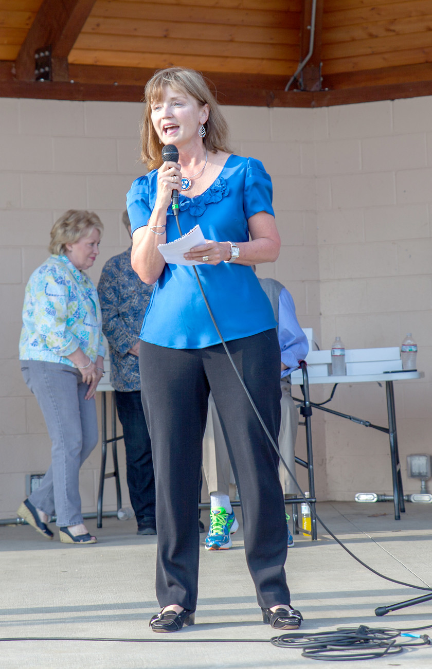 THE SPEAKER OF THE HOUSE in the Tennessee House of Representatives, Beth Harwell, speaks to the crowd gathered for the Cleveland 175th Picnic on Sunday, at the Cleveland Greenway.  There was free cake and ice cream, door prizes, and the Cleveland Pops performed to mark the occasion.