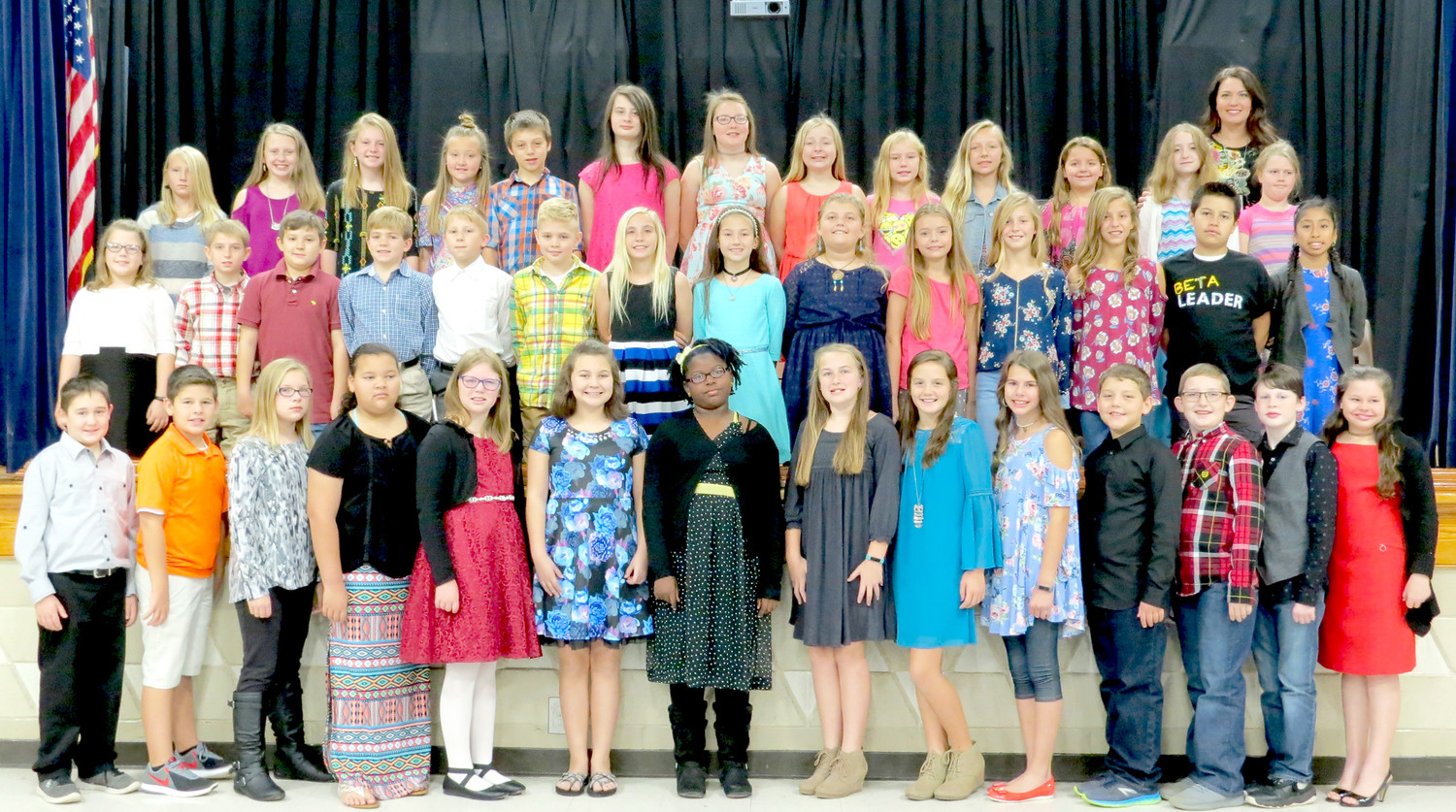 THE JUNIOR BETA CLUB at Black Fox Elementary School has inducted 41 members this school year. In the first row, from left, are Tucker Womack, Ethan Malone, Emily Vines, Laisia Novene, Mikayla Mowery, Emma McMahan, Brooklyn Hewitt, Anna Claire Gibson, Alissa Cross, Brooke Bowman, Brayden Hamilton, Ethan Lynn, Carter Hicks and Abigail Ingram. Second row: Sayde Blaylock, Jake Rockholt, Riley Frazier, Corbin Pierce, Pavel Kyslytsya, Caymon Cooley, Natasha Vaske, MaKenna Cox, Piper Reynolds, Eva Lewis, Keelyn Eslinger, Madelyn Eslinger, Sebastion Arellano and Ashley Ortiz. Third row: Kiley Slader, Halle Young, Macy King, Hannah Pearson, Caleb Tuinstra, Sarah Jordan, Morgan Armstrong, Brooklyn Humberd, Angelina Hitson, Gracie Parker, Kyanna Leach, Maggie Skelton, Elizabeth Rapp and sponsor Amber Winters.