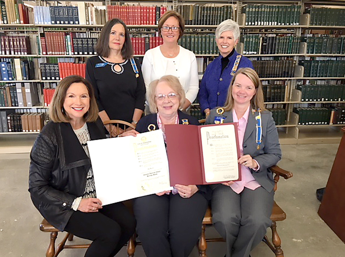 The Chattanooga-area Daughters of the American Revolution chapters recognized Native American Heritage for November.   On Nov. 1, the Chattanooga Regent's Council presented a signed proclamation to Mary Helms, manager in the Local History and Genealogy Department at the Chattanooga Public Library. From left are Helms;  Barbara Fickley, chairman, Chattanooga Regents' Council and a member of the Moccasin Bend Chapter TSDAR; Stacy Kehoe, regent of the Judge David Campbell;  Pamela Randolph, regent of the Moccasin Bend Chapter; Teresa Rimer, Chief John Ross Chapter; and Joye Duke, regent of the Chickamauga Chapter.
