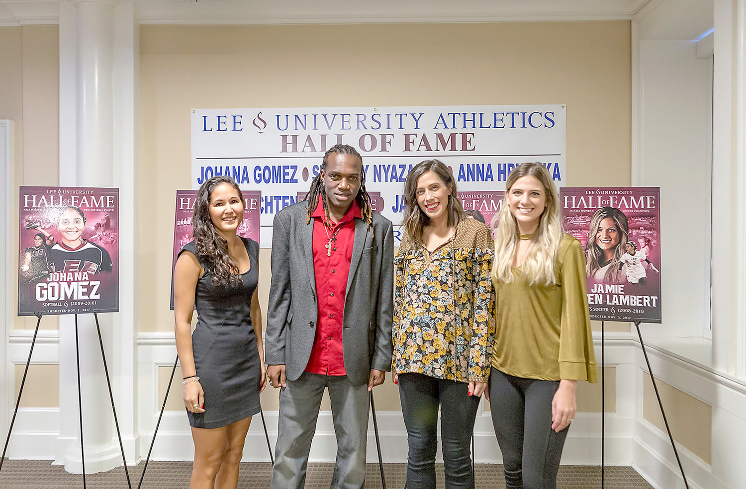 THE LEE University athletic department recently inducted five new members into its Hall of Fame. From left are Anna Hrushka (cross country/track), Stanley Nyazamba (soccer), Jenna Achten Sullivan (soccer) and Jamie Achten Lambert (soccer). Not pictured is Johana Gomez (softball).