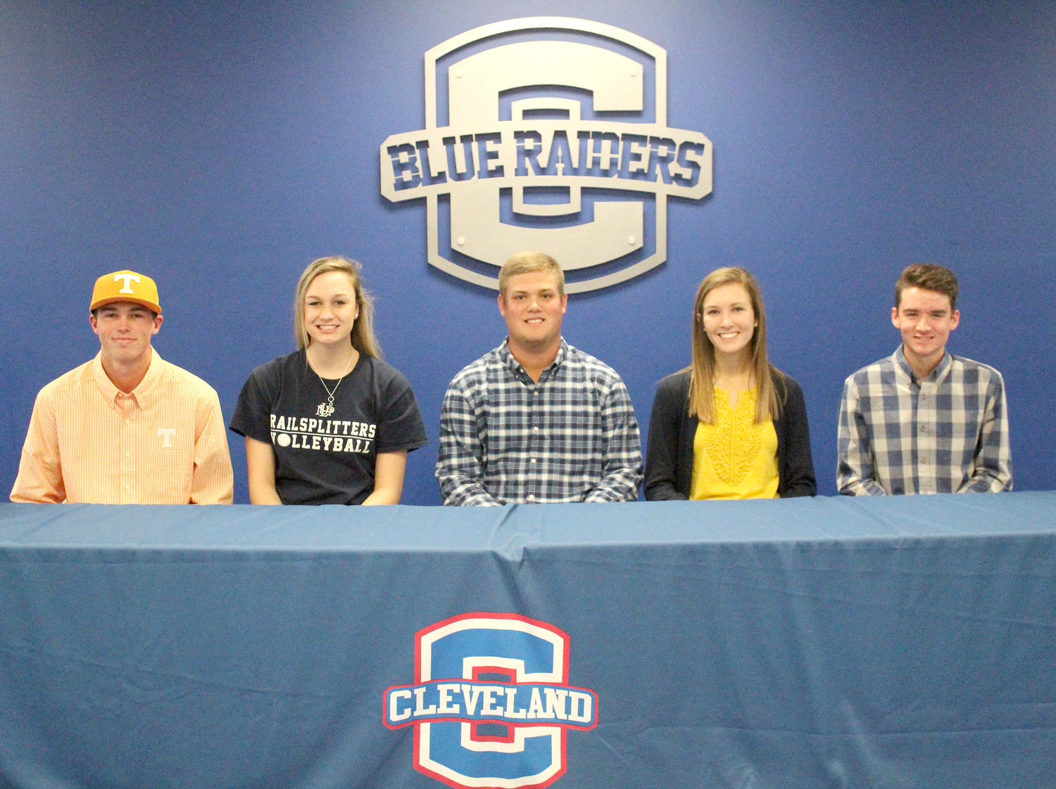 FUTURE college athletes from CHS include, from left, Camden Sewell (Tennessee), Emma Flowers (Lincoln Memorial), Drew Linkous (Walters State), Rheagan Hall (UTC) and David Isaac (Cleveland State). All five signed Wednesday to further their athletic careers.