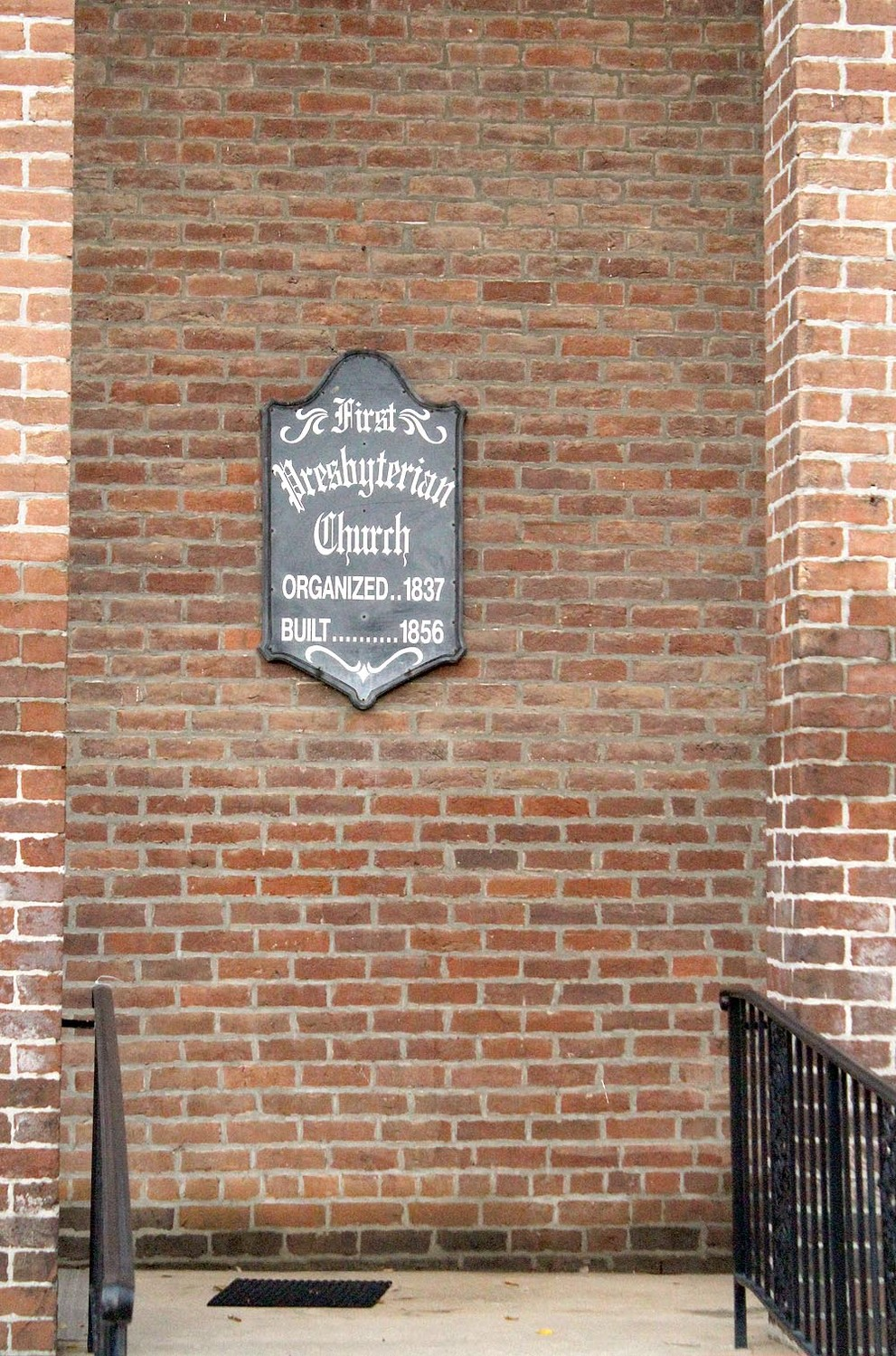 THE FRONT WALL of the church declares First Presbyterian Church was organized in 1837 and built in 1856.