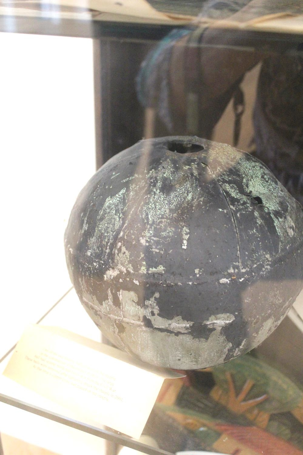 This ball was taken from the top of First Presbyterian after a lightning strike  in 2001.