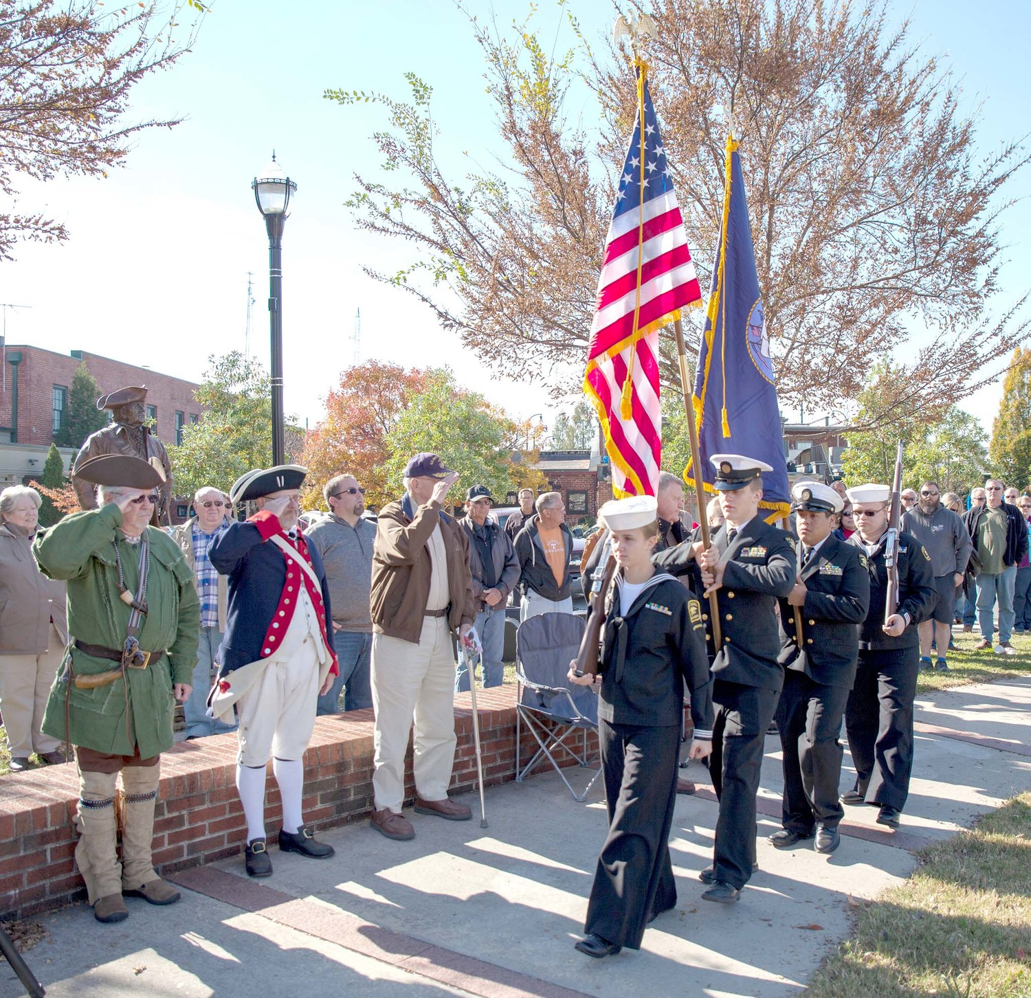 THE U.S. NAVAL SEA CADETS, Chattanooga Division Color Guard post the colors at Saturday's Veterans Day program at 1st Street Square.