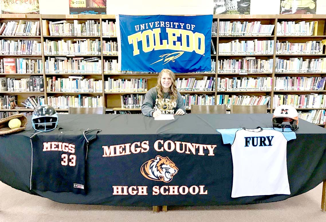 MEIGS COUNTY softball standout Aubrey Reed has signed a scholarship with the University of Toledo, and will play softball for the Rockets.