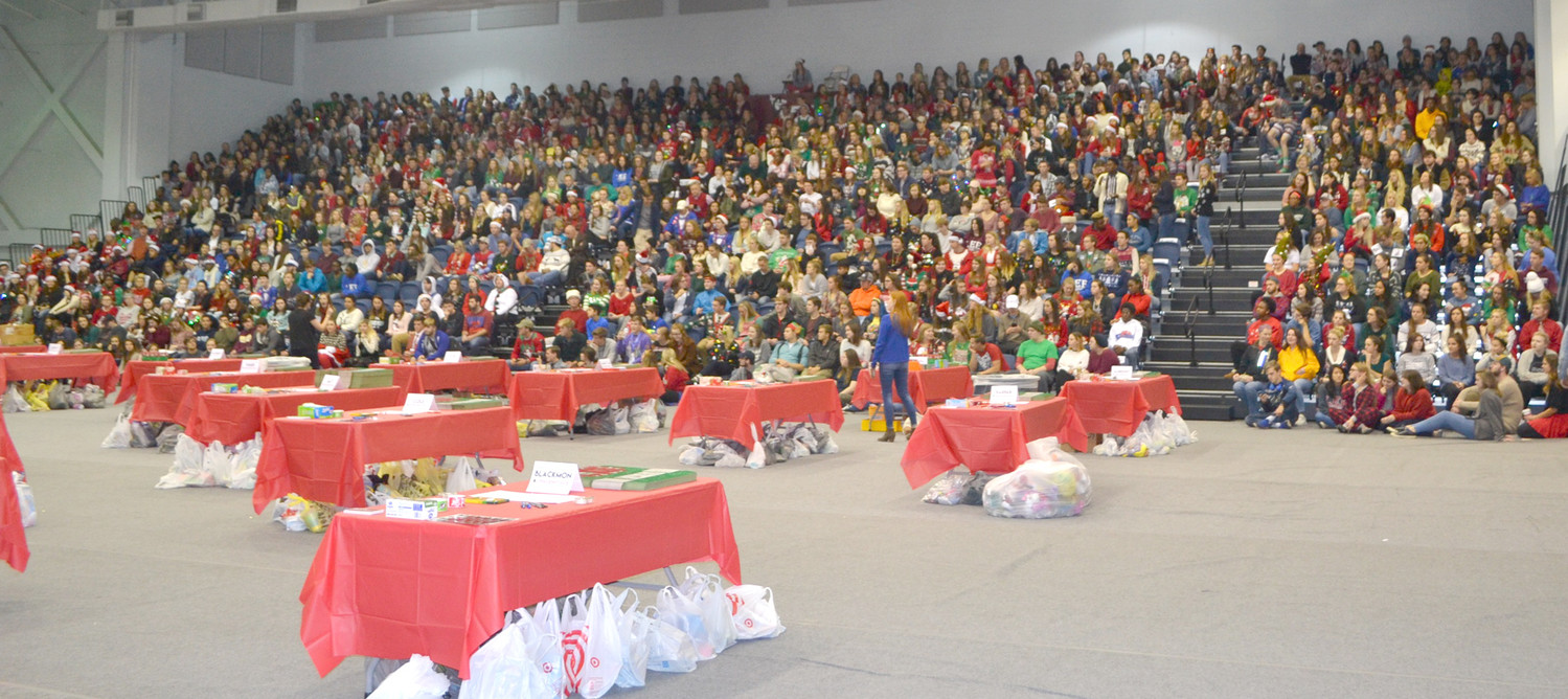 THE BLEACHERS at Lee University's Walker Arena were filled with students ready to pack boxes for Operation Christmas Child.