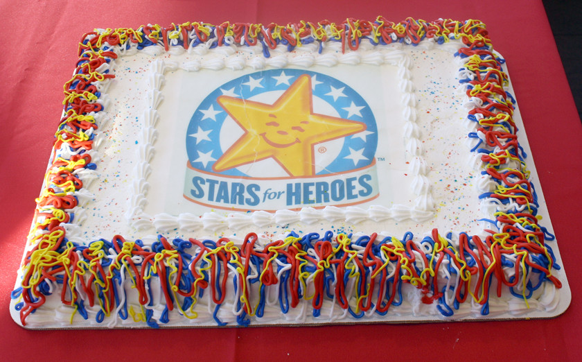 A BRIGHTLY DECORATED cake marked the conclusion of the Hardee's Stars of Heroes promotion this year. The proceeds will go to local and regional projects to benefit veterans.