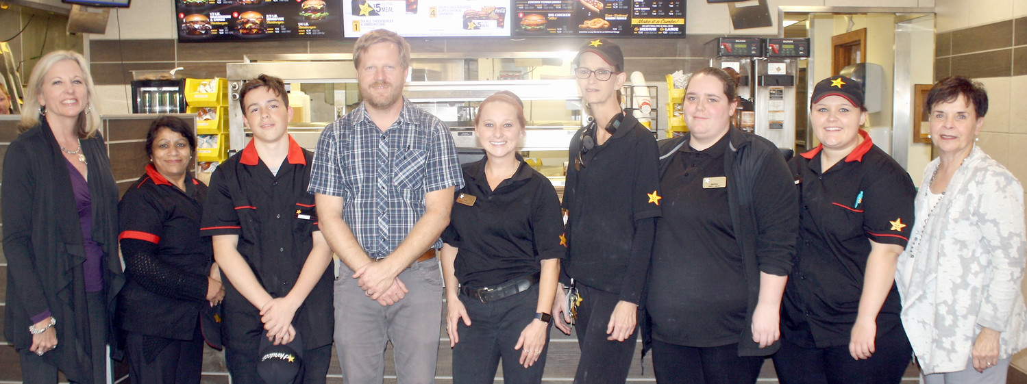 CLEVELAND'S HARDEE'S restaurant on Paul Huff Parkway was once again the winner of the Stars for Heroes promotion. Being recognized at a Thursday afternoon ceremony were, from left, Julia Scoggins, Nita Patel, Austin Prock, Brad Scoggins, Tasha Cox, Lisa Watson, Madison Dunn, Fancy Parkern and Brenda Eckard.