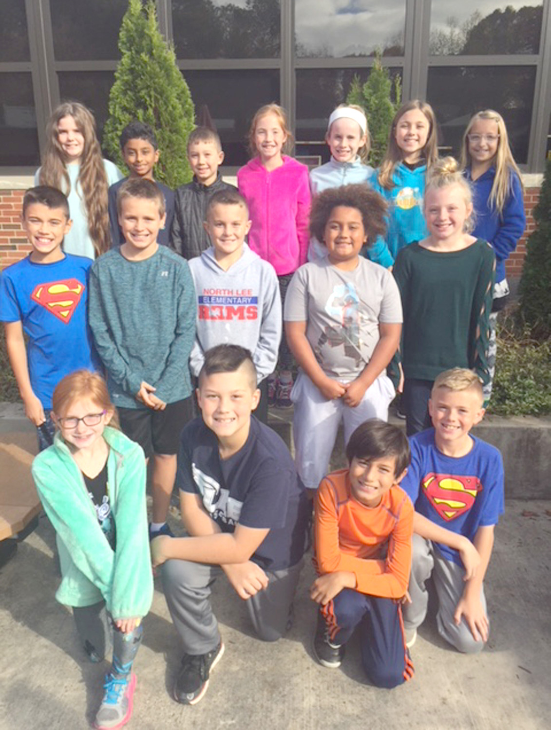 2017-18 NORTH LEE Elementary School fourth-grade mentors posed for a recent photo. These students meet with their mentees weekly for tutoring, Accelerated Reader testing, fun on the playground, buddy breakfasts, and anything else the classroom teachers ask them to do. It's considered a great honor to be chosen as a mentor. In the front row, from left, are Chloe Flowers, Caden Williams, Everest Shrestha and Alex King.  In the second row are Mitch Brown, Hudson Brooks, Cael Coates, Kaleb Jackson and Baylee Koons. At back are  Elle Jenzen, Blake Sookal, Boston Heier, Sydney Creekmore, Caileigh Collins, Morgan Brandenburg and Kaelyn Yoder.