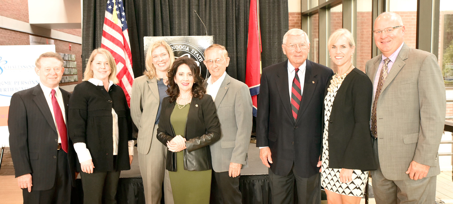 CHATTANOOGA STATE has been selected as a national testing center by the National Society of Mechanical Engineers. At the announcement were, from left, Mike Turnbow, TVA retired; Carol Eimers of TVA, Chattanooga State President Rebecca Ashford; Michelle Harstine from Congressman Chuck Fleischmann's office;