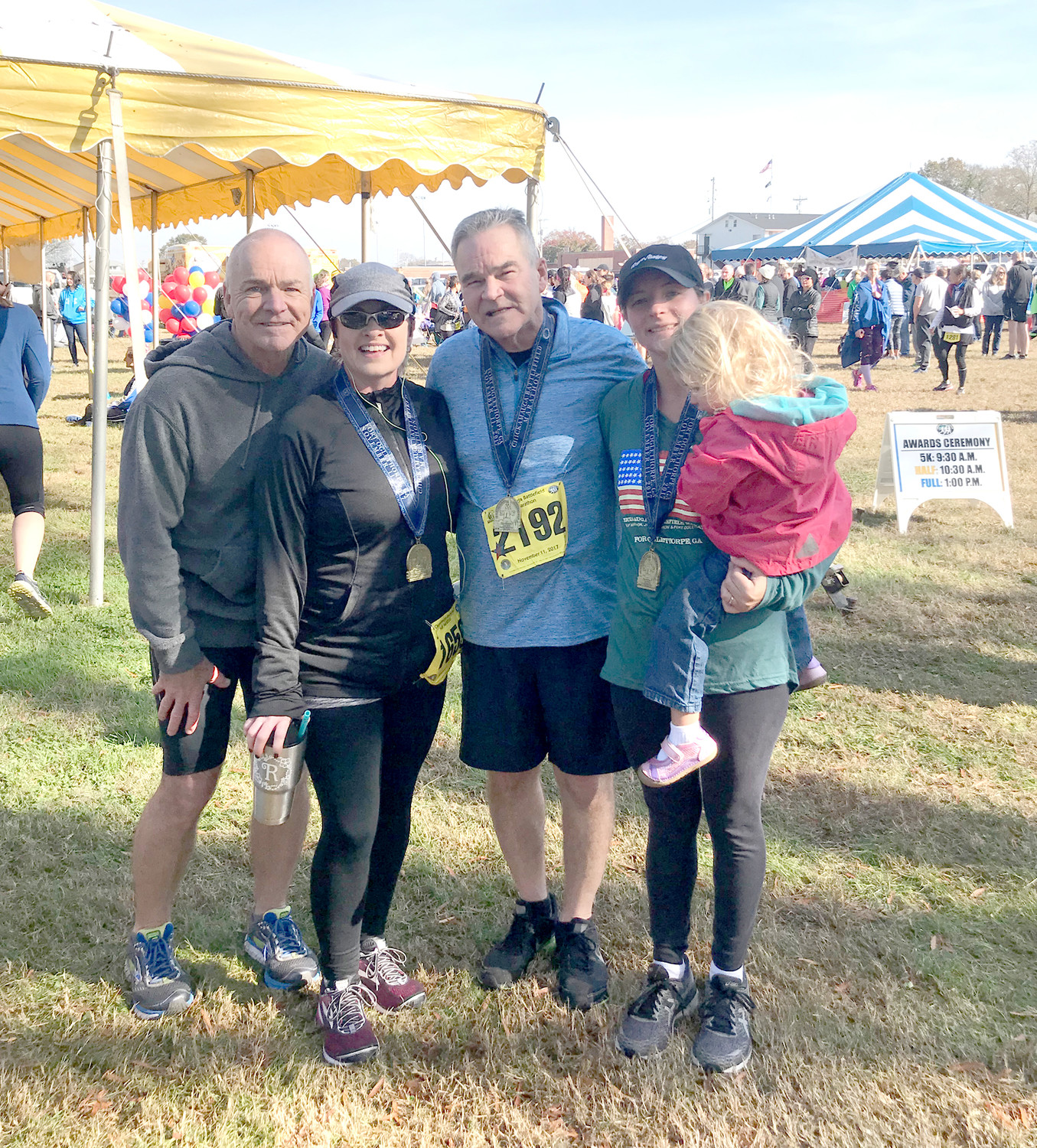 Shown after completing the ½ Marathon at Chickamauga Battlefield are Mark Williams, Regina Williams, Denny Williams and Heather Wilson.