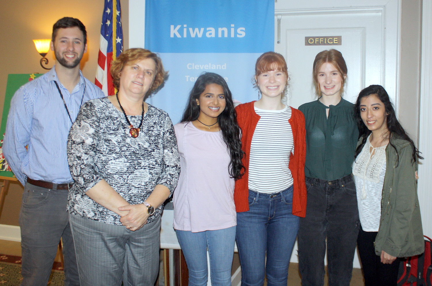 "CLEVELAND KIWANIS President Mike Stoess, left, is shown with members of the Cleveland High School Key Club. At a recent Kiwanis Club luncheon were Key Club sponsor ""Gabby"" Tallent, second from left, and club members, from left, Aryali Patel, Olivia Miller, Carolyn Miller and Fernanda Tellez."