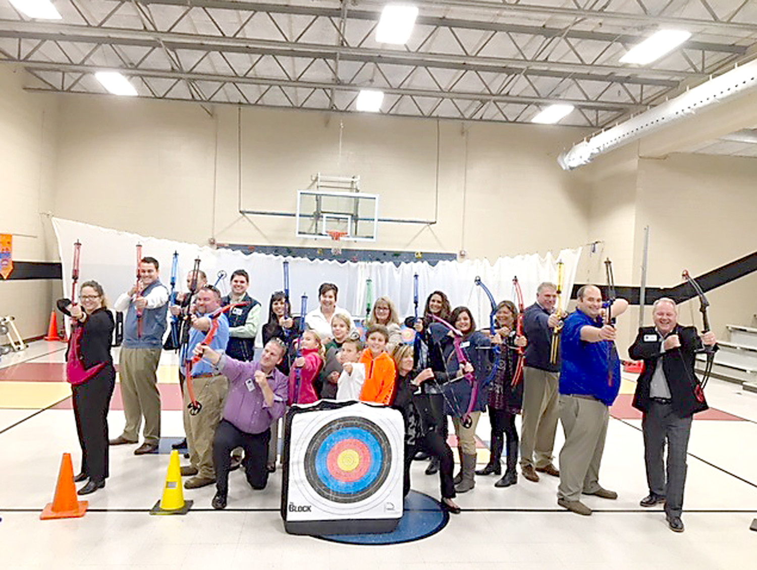 "CLEVELAND/BRADLEY Chamber of Commerce leaders were right on ""target"" when they visited Black Fox Elementary School. Fourth-grade archers Chloe Ryerson, Jude Carpenter, Noah Dycus, and Clayton Crowden assisted as coaches with the Chamber leaders ""took aim."""
