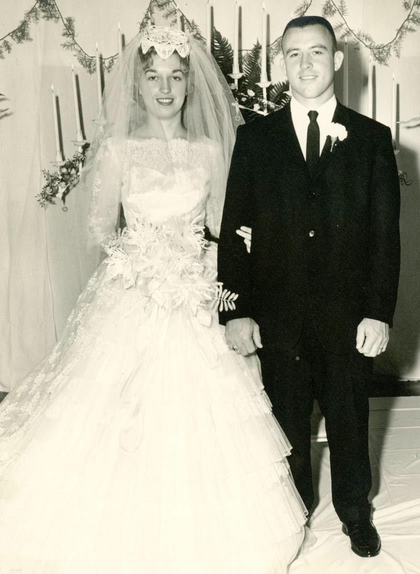 Wendell and Jimmie Neeley are shown at wedding in 1962.