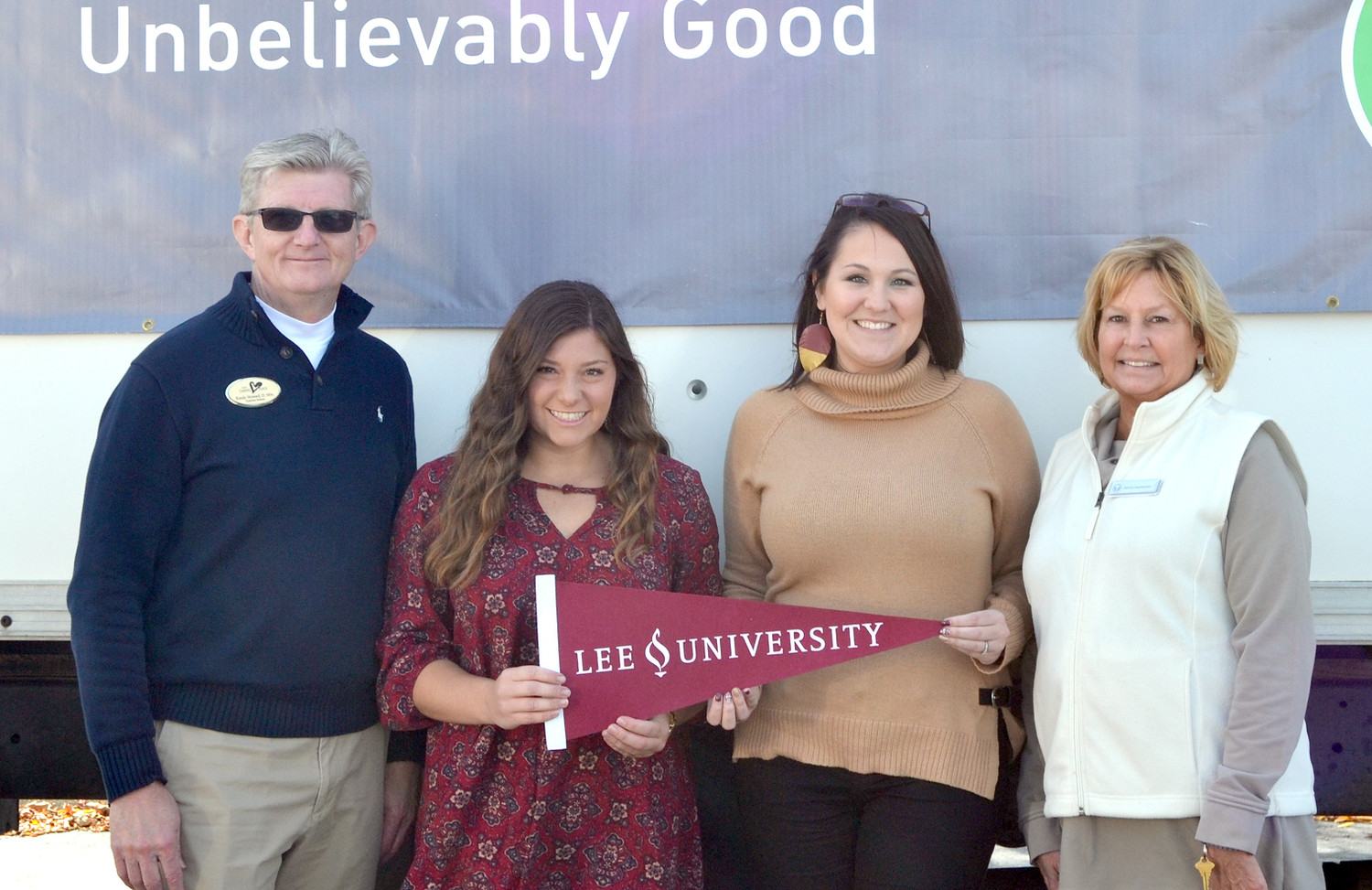 LEE UNIVERSITY delivered food donations  at Southern Heritage's Food Drive. From left are Randy Howard, Brianne Schapira, Bethany McCoy and Denise DeArmond.