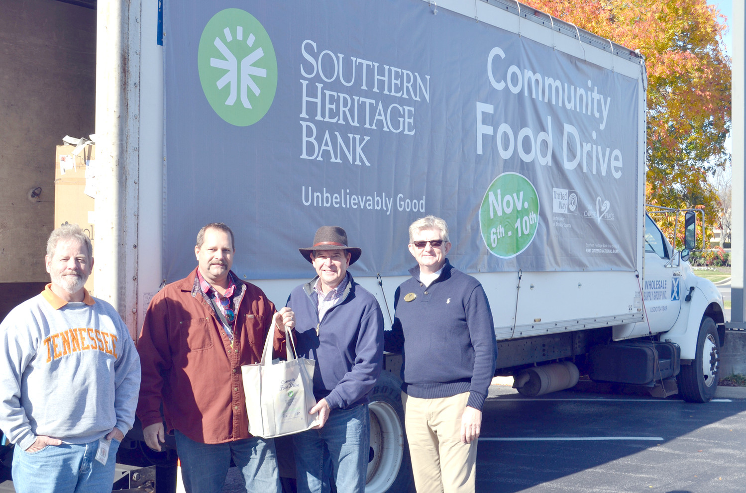 WATERVILLE COMMUNITY ELEMENTARY participated in the annual Southern Heritage Bank Food Drive. From left are Jeff Walker, Todd Gunderson, Lee Stewart and Randy Howard.