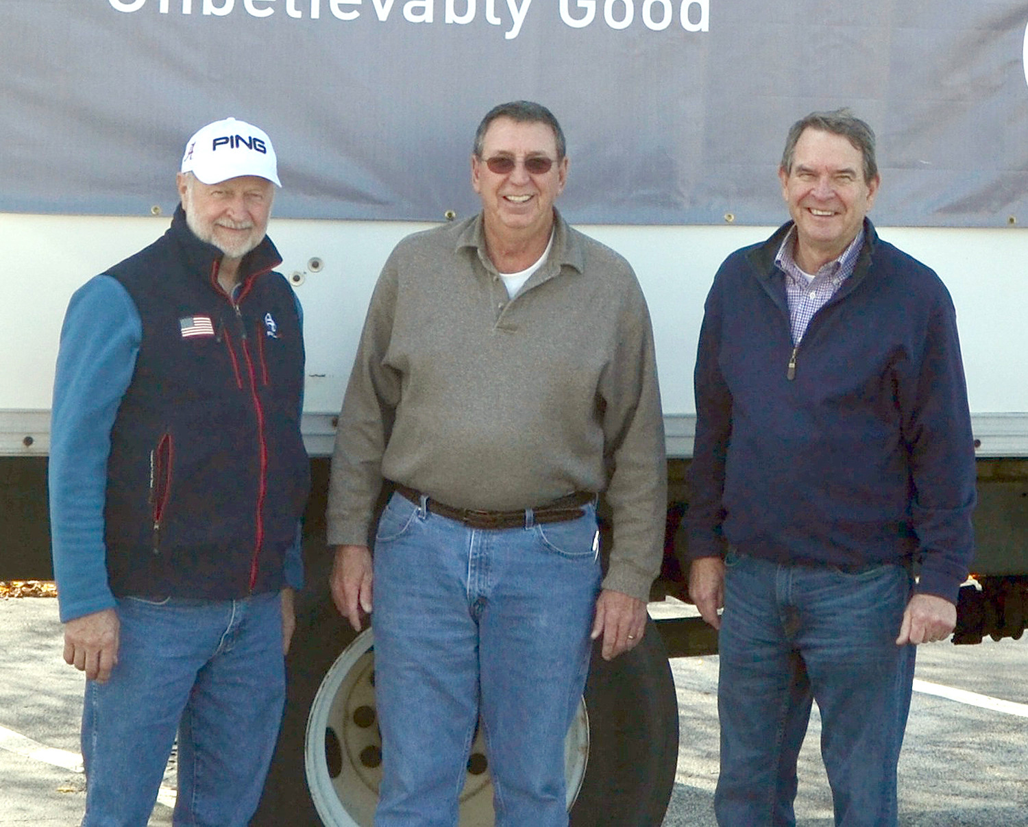 WHOLESALE SUPPLY  contributed to the Southern Heritage Bank Food Drive. From left are Vernon West, Steve Raper and Lee Stewart.