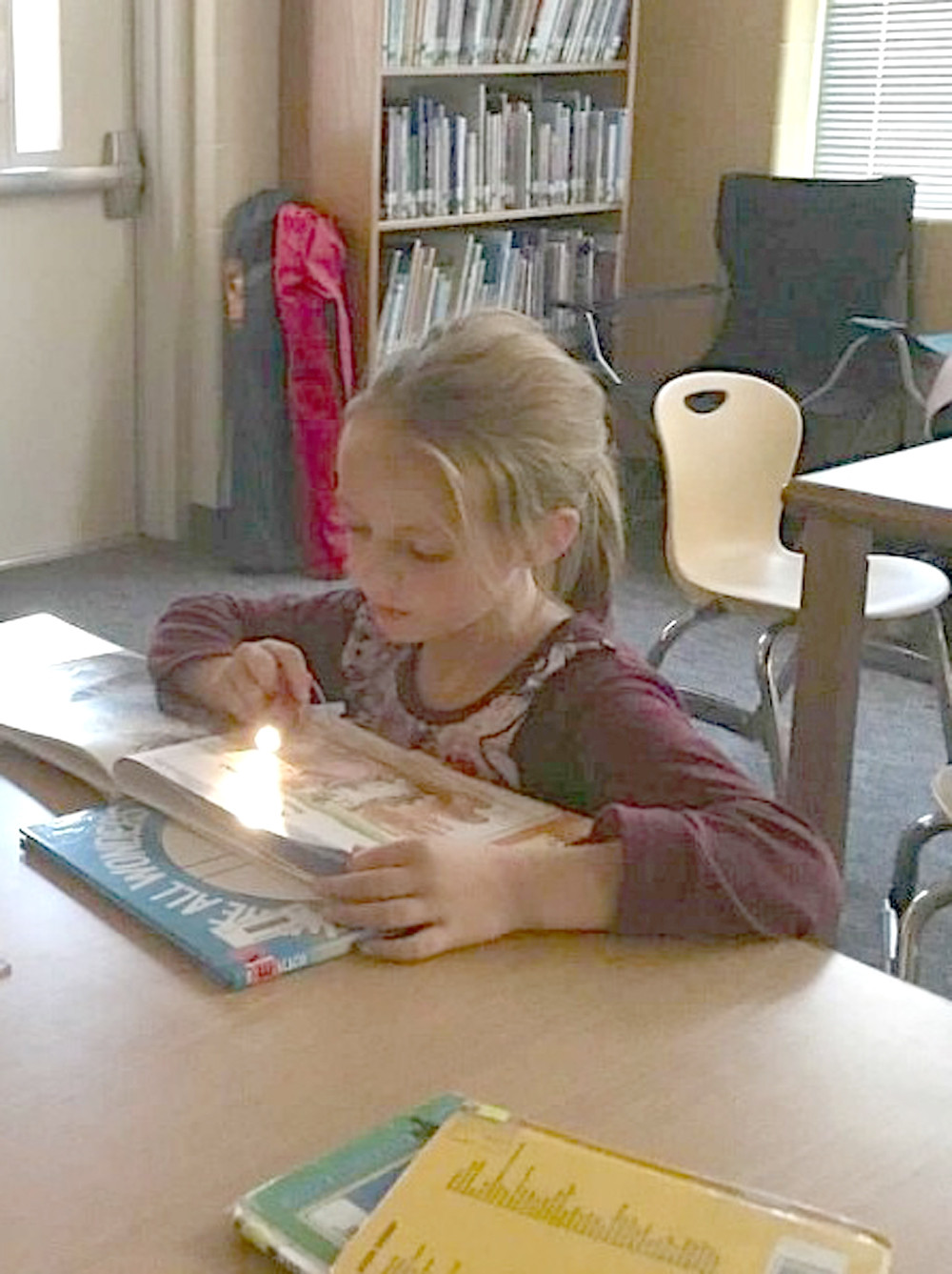 "FIRST-GRADER Callie Jacobsen reads ""under the stars"" during a recent camping-themed literacy night at Park View Elementary. She was reading with her grandmother, Gina Jacobsen, not pictured."