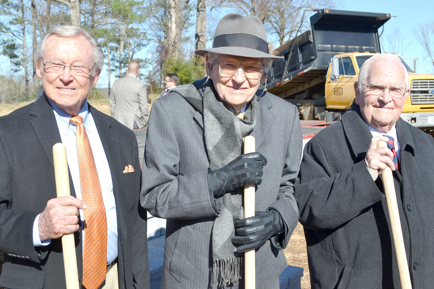 SEVERAL OF THE OLDER MEMBERS of the church were present at the Westmore Church of God groundbreaking Sunday. From left are Dudley Pyeatt, Dr. James Beaty and Don Pemberton.