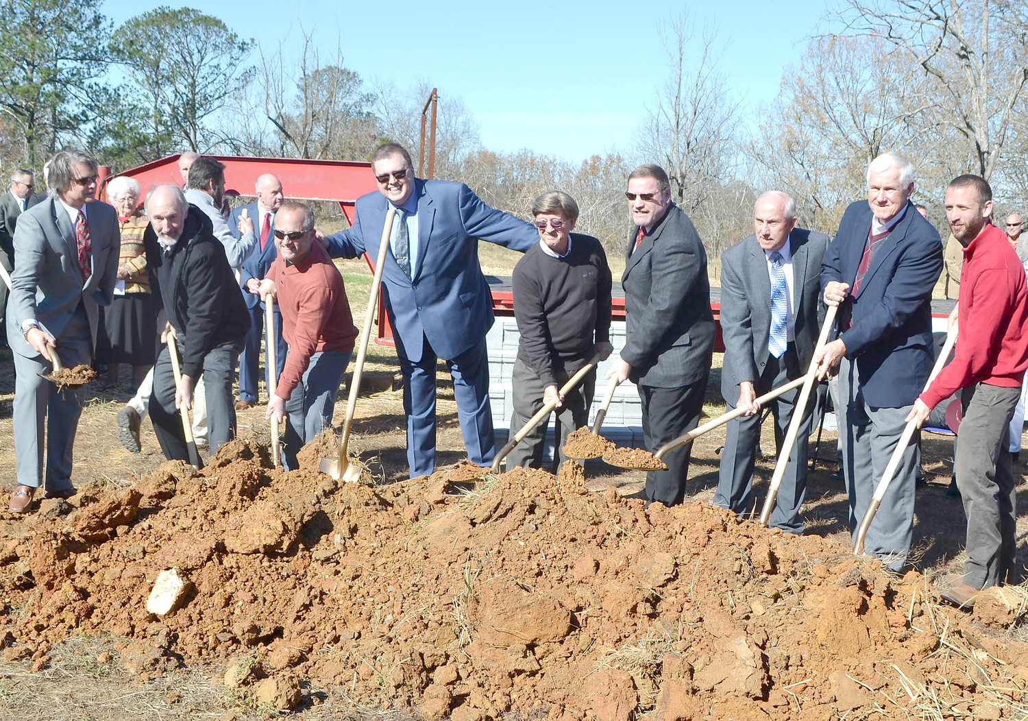 ELDERS AT WESTMORE CHURCH OF GOD were involved in the groundbreaking for the new church site. From left are Steven Hattabaugh,