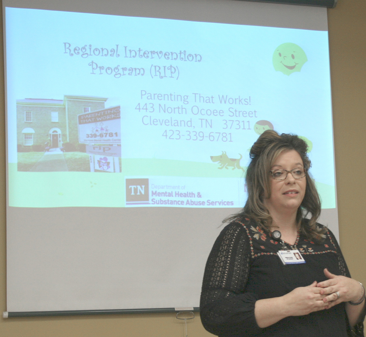 Rebecca Brnik explains RIP's program to members of the Bradley County Health Council.