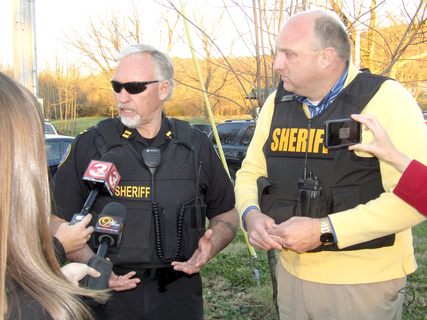 BCSO CAPT. Dennis Goins with the SWAT team and Sheriff Eric Watson brief members of the news media shortly after a hostage situation ended.