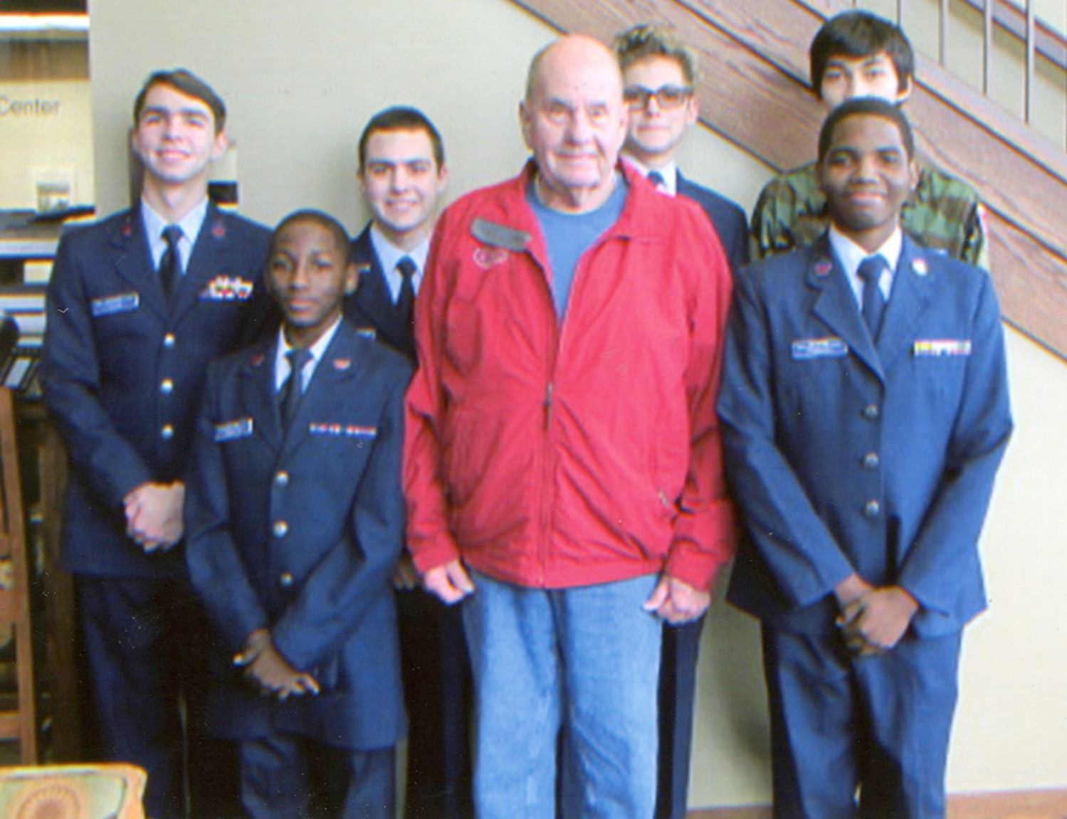 The Civil Air Patrol presented the colors at the recent dedication ceremony for the runway extension at the Cleveland Jetport. Cadets shown with Cleveland Mayor Tom Rowland include, from left, 1st Sgt. Trent Jones; Cadet Senior Airman Michael Robinson; Cadet Capt. Wilkie; Rowland, Cadet Senior Airman Philip Moshenskiy; Cadet Master Sgt. Garrett Robinson and Cadet Airman Matvei Batuev.