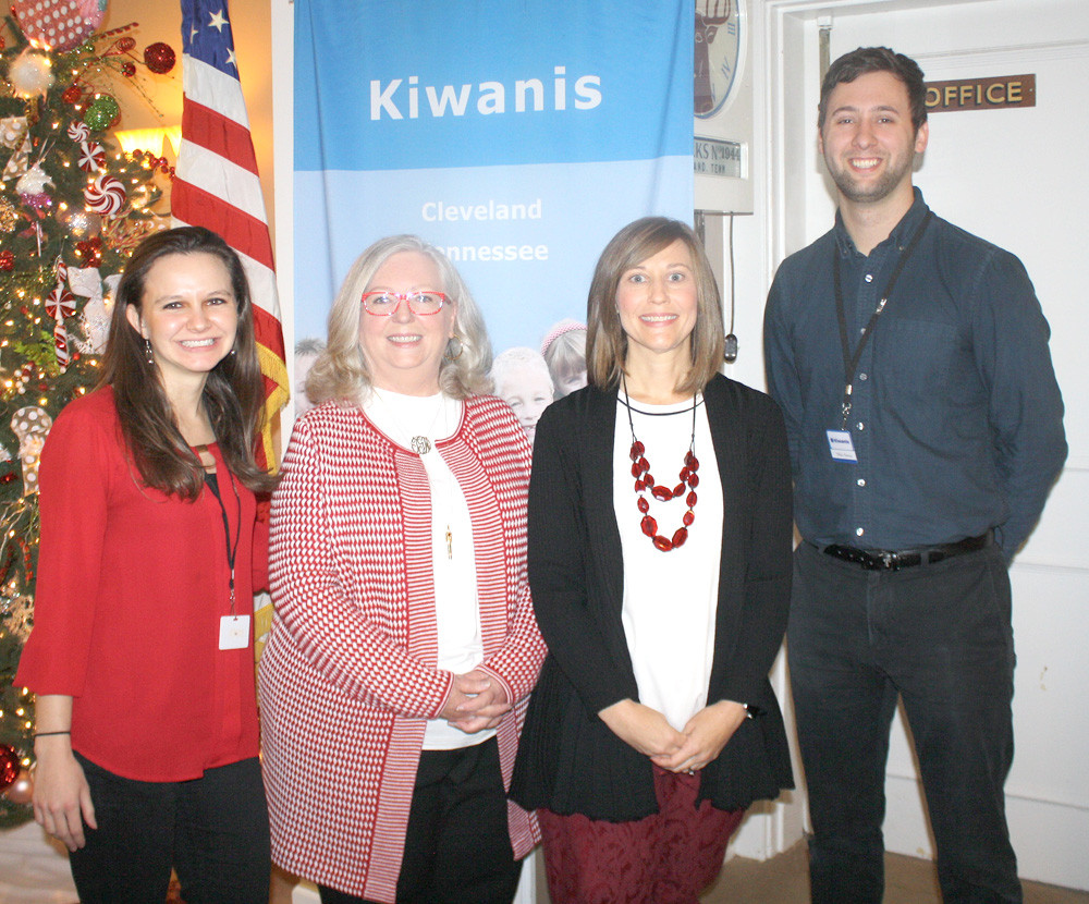 KELLEY WEBER, second from right, and Teresa Grant, second from left, were the guest speakers at Thursday's Cleveland Kiwanis Club luncheon. With the HOPE Child Advocacy Center officials were Program Chairman Jaynese Waddell, left, and Kiwanis President Mike Stoess, right.
