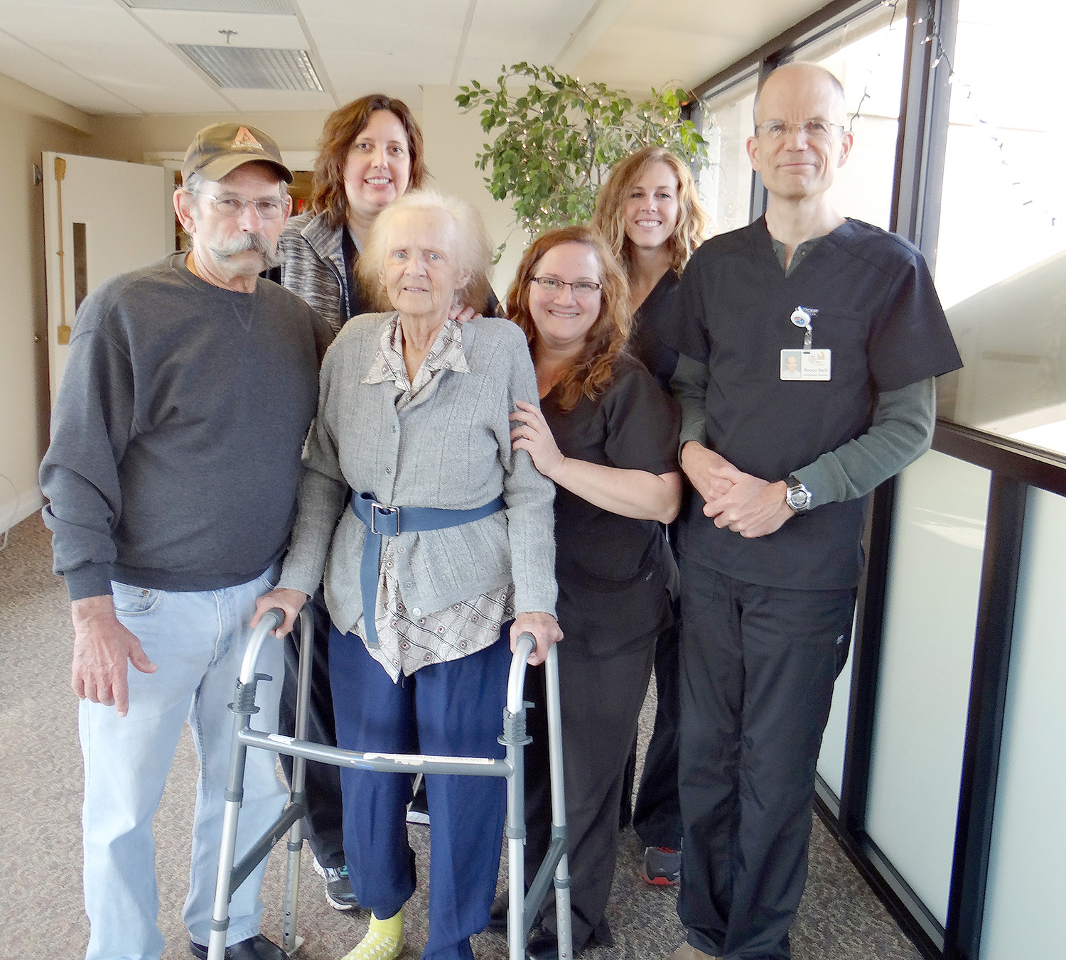 FROM LEFT are William Whittington; Tara Coe, occupational therapist at Life Care Center of Cleveland; Doris Williams; Kelly Newbould, physical therapist assistant; Brittney Furgerson, speech therapist; and Rocco Sarli, physical therapist