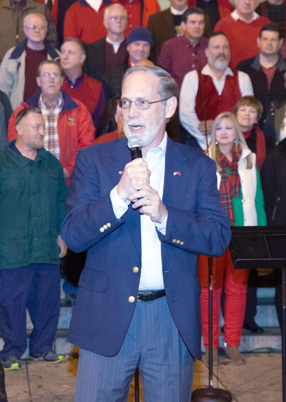 BRADLEY COUNTY MAYOR, D. Gary Davis, welcomes the crowd to the kickoff of the Community Tree Lighting Festivities on Friday.