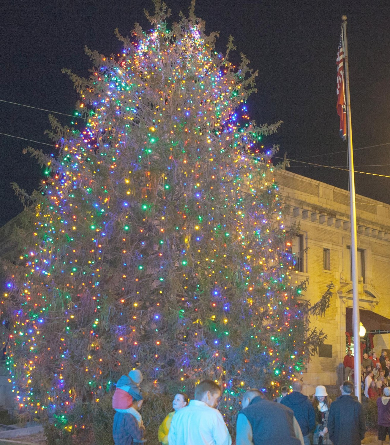 THIS YEAR'S CHRISTMAS TREE lights have all been replaced with LED bulbs in an effort to conserve energy.
