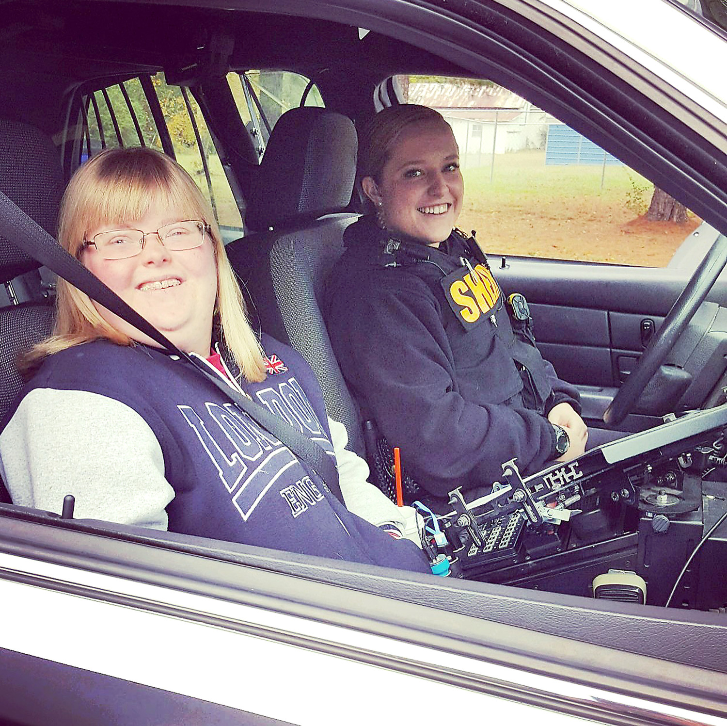 RIDING ALONG WITH HER SISTER, Kersten Fowler said that if she was not in law enforcement, she would want to be in a field where she is helping those with special needs such as her teenage sister, who has Down syndrome.